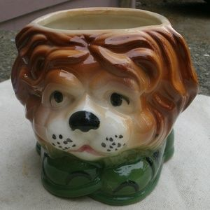 Vintage Lion wearing Green Shoes Planter